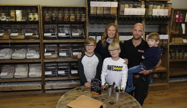 Windermere Roots Refill Pantry proprietors Keith and Hayley Mason with their children (from left) Ted, Ethan and Brock