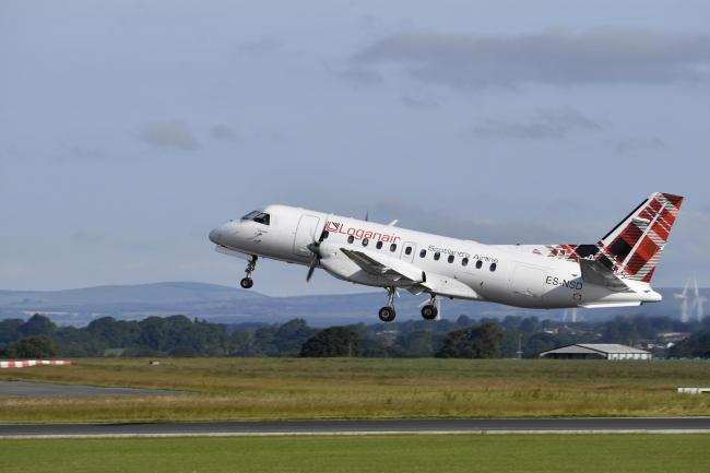 The first commercial flight from Carlisle Lake District Airport takes off for the first time in more than 25 years