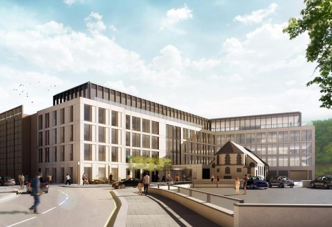 An artist's impression of the office development around the chapel of St Gregory's and St Patrick's in Whitehaven