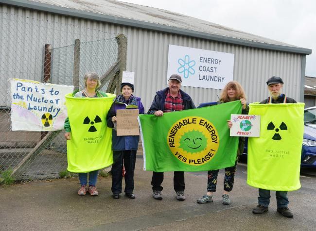 Anti nuclear protesters outside the Energy Coast Laundry at Lillyhall in Workington on Tuesday. PHOTO TOM KAY       6 AUGUST 2019