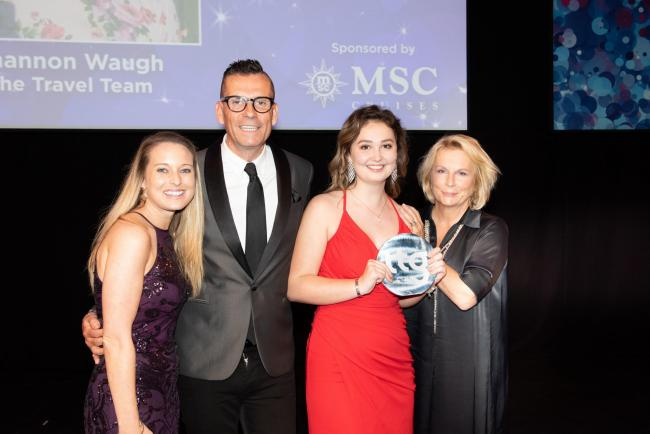 ACCOLADE: Young Agent of the Year Shannon Waugh receives her award from Jennifer Saunders