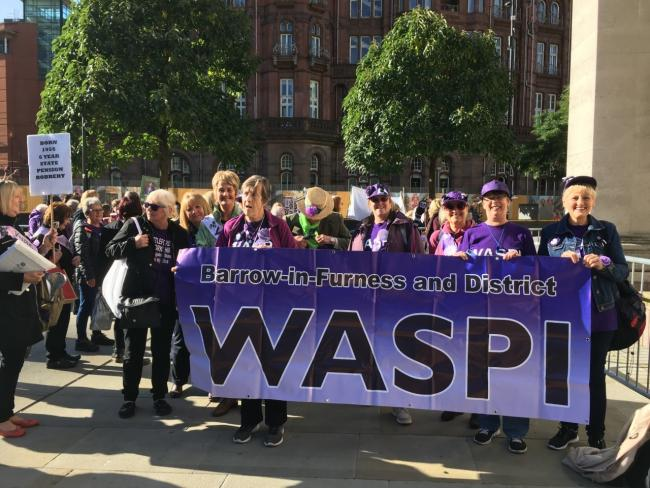 SUPPORT: WASPI's Barrow branch at the Conservative Party Conference 2019 in Manchester