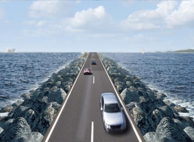 An artist's impression of the bridge proposed across Morecambe Bay