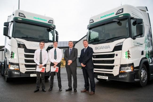 Aiden Nelson, Liam Bell, finance director Dave Lindop, of AW Jenkinson Transport Limited and Robin Brown, of SP Training