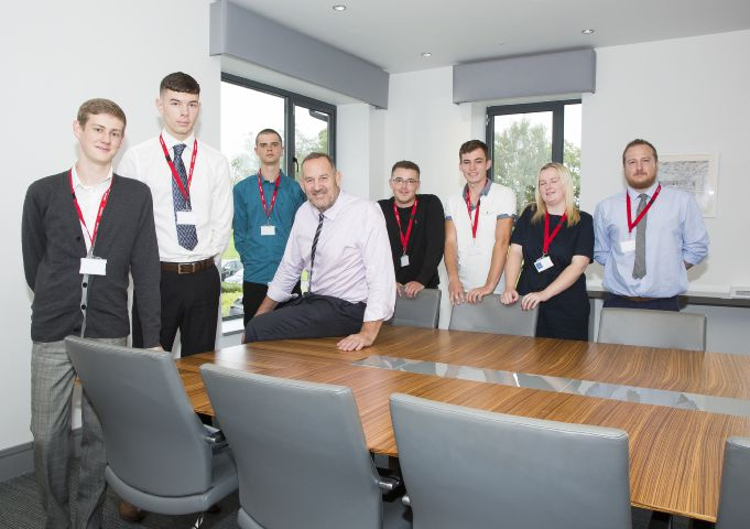 Fred Story, chief executive of Story Homes, meets the company's seven new apprentices