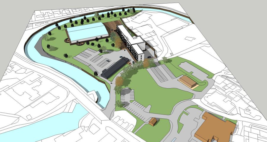 An artist's impression of what the redeveloped Keswick pencil factory site will look like