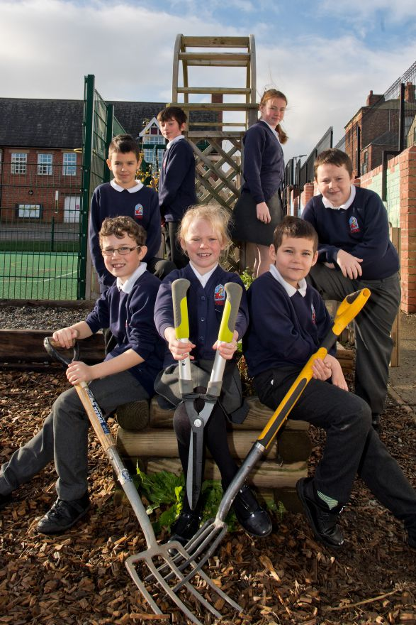 St George's primary in Barrow in the garden transformed by BAE Systems apprentices