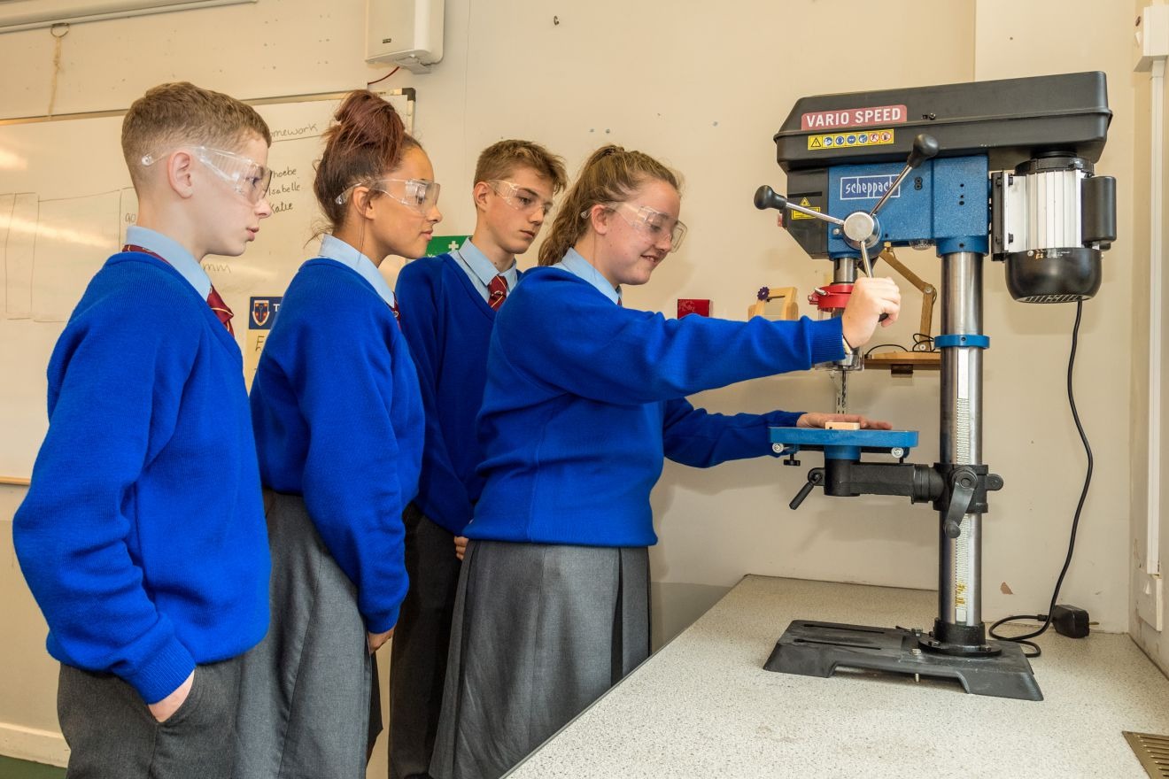 Pupils at St Bernard's School, Barrow in the classroom BAE Systems apprentices revamped