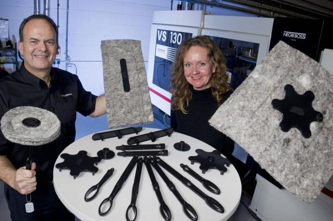 Sally Phillips, of Chimney Sheep, with Michael Winship, at Omega Plastics.