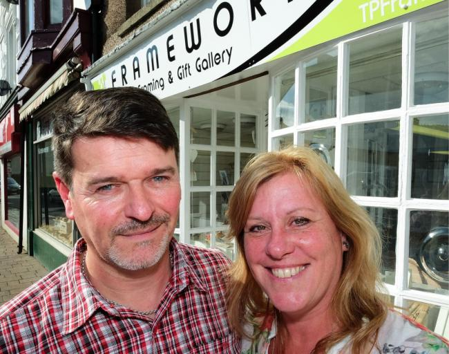 Original Caption(if any): TP Framework has opened up in Market Street Dalton. It is a new framing service and gift shop. Here, Terry and Fay Powley outside their new premises. Fri 4th September 2015. MILTON HAWORTH. (Fay Powley 07743710150 @ TP Framework,