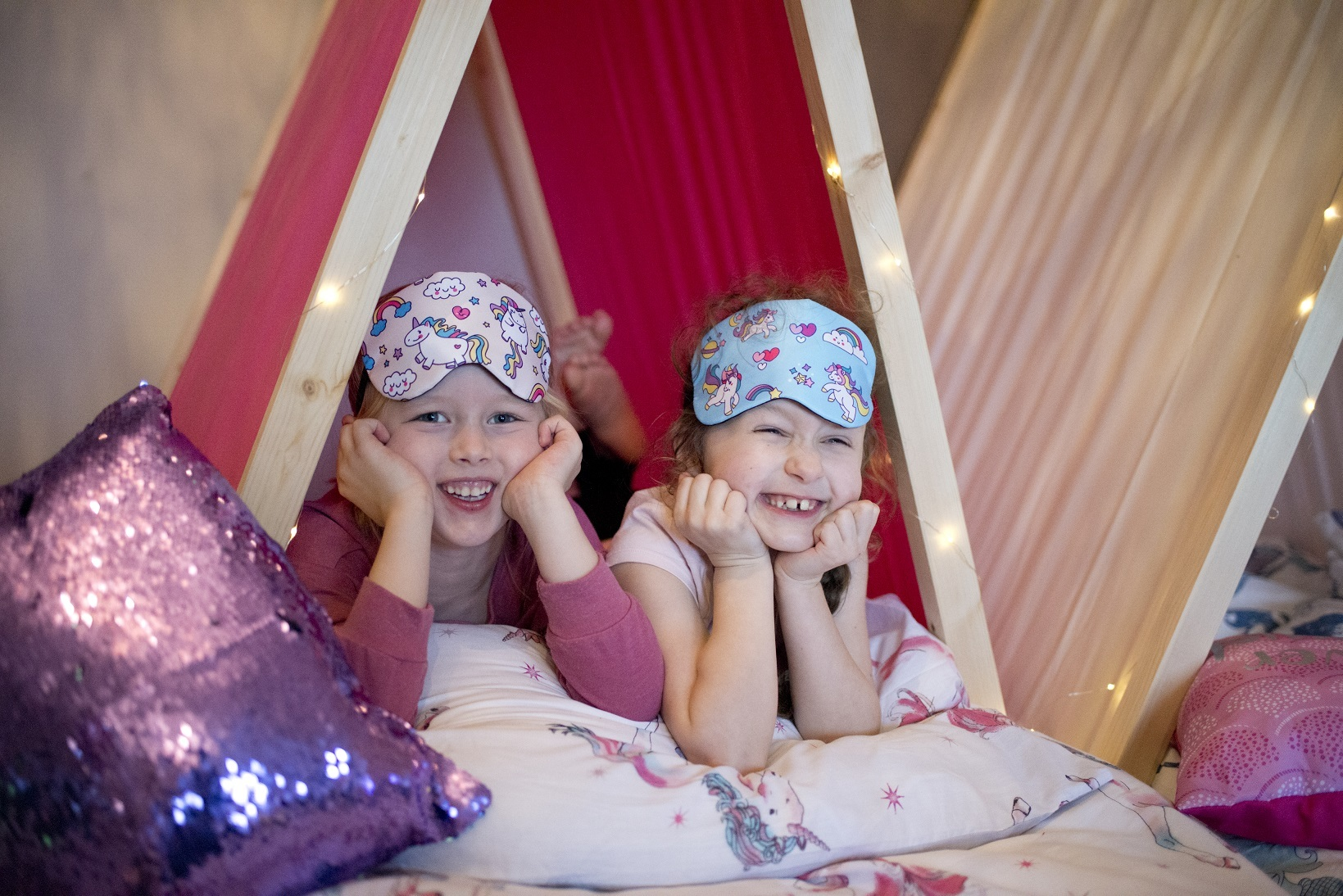 Daisy Barker (right) and Millie Saul (left) enjoy Hardy Soft Play's Once Upon a Time Sleepovers.
