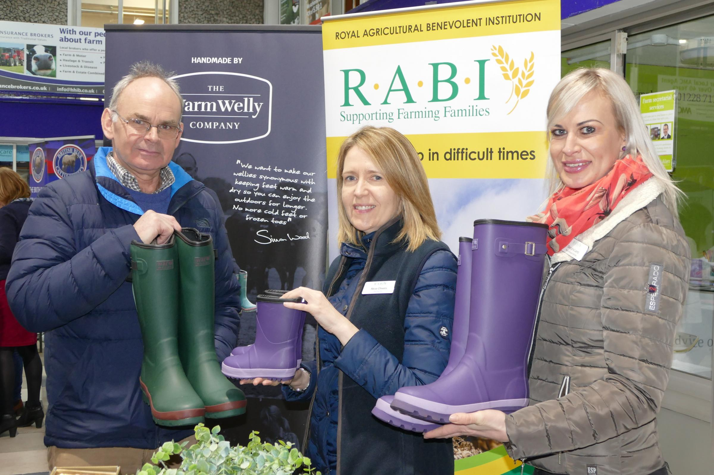 Simon Wood with RABI CEO Alicia Chivers and NW regional manager Georgina Lamb.