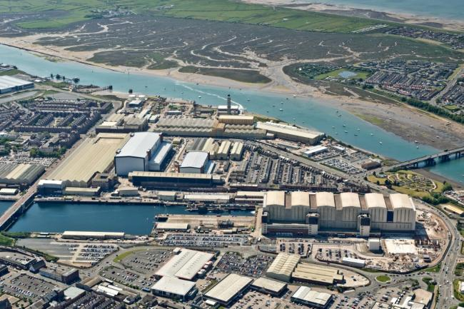 Aerial view of the BAE Systems shipyard in Barrow