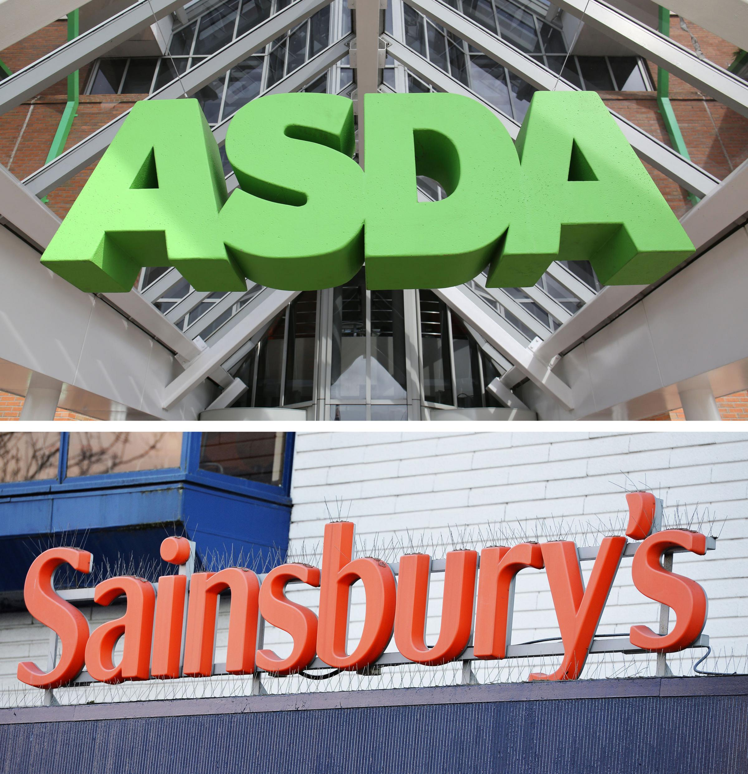 Undated file photos of an ASDA and a Sainsbury's sign. Sainsbury's has claimed there are serious flaws with the competition watchdog's report into its £12 billion merger with Asda, and argued the tie-up will deliver £