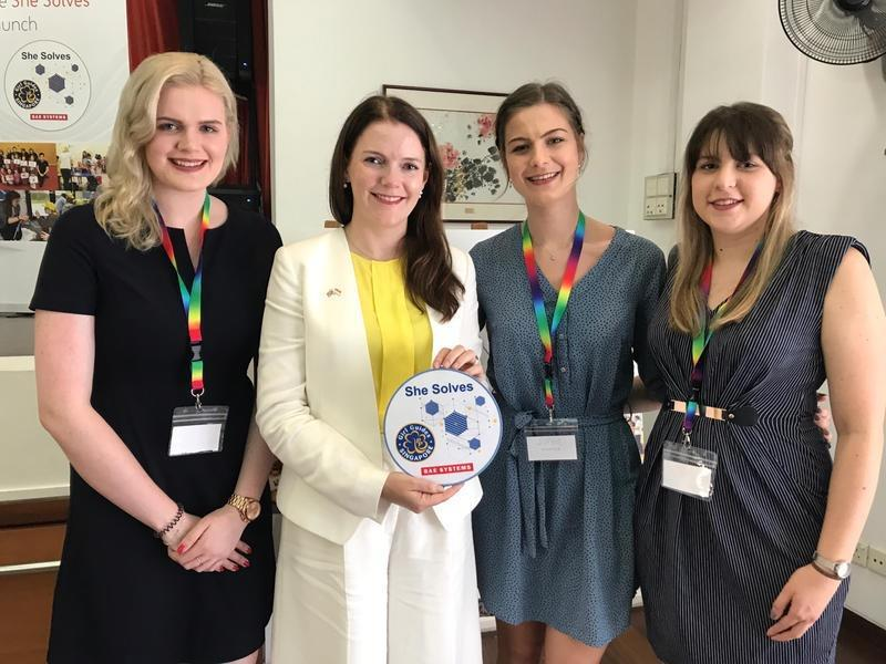 Natalie Black, Her Majesty's Trade Commissioner for Asia-Pacific with, from left. Lauren Eastburn, Sophie Dent and Beth Howarth-Henry.