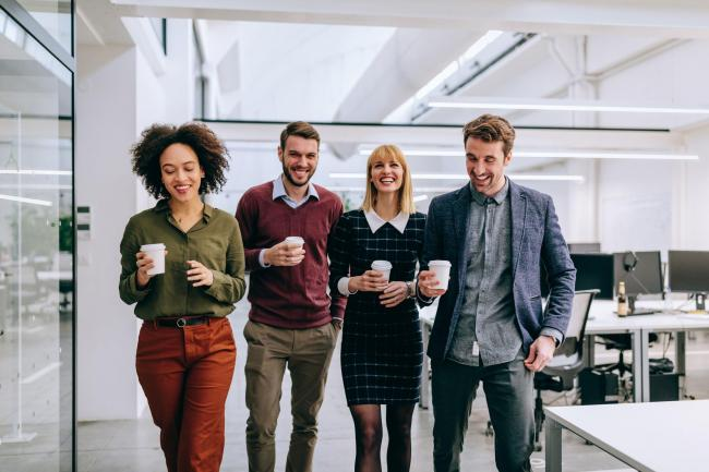 A generic stock photo of a group of office workers going for a walk, See PA Feature WELLBEING Walking. Picture credit should read: iStock/PA. WARNING: This picture must only be used to accompany PA Feature WELLBEING Walking.